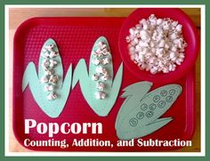 Popcorn Counting, Addition, and Subtraction...even though I'm sure the popcorn will be eaten and not counted