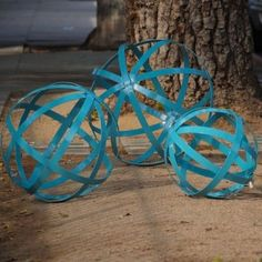eclectic outdoor decor in powder blue. Must tell my brother to weld some of these!!
