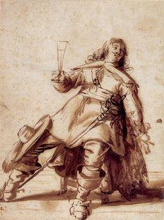 Antonie Palamedesz,  Seated Cavalier with a Sword and a Raised Glass, Prentenkabinet Universiteit Leiden.
