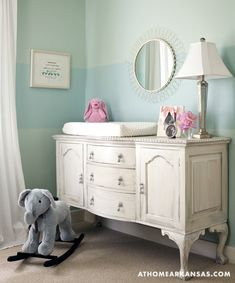 Blue Belle. A beautiful piece of  furniture for a little girls room. Love the elephant...