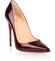 Bordeaux patent leather pump with a slight shimmer from Christian Louboutin. The So Kate pump has a stiletto heel that measures approximately 120 mm.True to sizeRed leather soleMade in ItalyDesigner Colour: OrthodoxeCLICK for Louboutin red soles care advice!