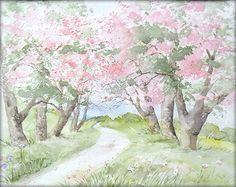 Baumblüte - Aquarell - 24 x 30 cm - Original - Landschaft