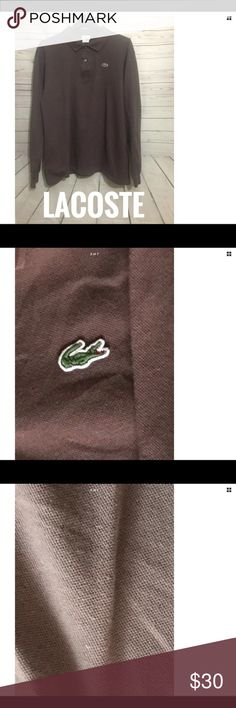 """Lacoste Men Brown Polo Shirt Size 2XL Long Sleeve Lacoste Button Front, Long Sleeve • Cotton • Brown  Size 2XL EUR 8 • Measurements: 25"""" (armpit/armpit), 29.5"""" (collar/hem),  25 """" (Sleeve length) • Good pre-owned condition, show color fading, no noticeable rips, tears, or stains • Country of Manufacturer: Peru • Stock# 100217/C10015 See pictures for more details. Buy with confidence! Please compare the measurements above to an item you already own that fits you well.  No Trades or Holds…"""