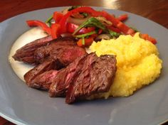 Real Simple's Steak with Peppers and Polenta. So yummy and filling—and easy!    #monthofdinners