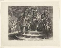 Antony van der Does | Karel V doet troonsafstand ten gunste van Fiilips II; intocht van Ferdinand te Gent in 1635 (nr. 25), Antony van der Does, Gaspar de Crayer, Peter Paul Rubens, 1635 - 1636 | Troonsafstand van keizer Karel V op 25 oktober 1555, waarin hij de regering van de Nederlanden overdraagt aan zijn zoon Filips. De keizer staande voor de troon, naast hem zit zijn zuster Maria van Hongarije. Verder aanwezig: Viglius van Aytta en kardinaal Granvelle. Filips II kust de hand van zijn…