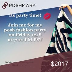 Mark your calendar! I'm hosting a posh party💋🙌💋 🥂Dear posh friends, it's party time! 🥂I'm hosting the 🎉🎊💐fashion party on Friday 12/8 at 7:00 PM PST, 💅🏻🎊🎉please join me to celebrate!  👑👑👑👑👑👑👑👑👑👑👑👑👑👑👑 I will be looking out for host picks from now on  🌟follow my closet and like this listing💋  🌟Check out my closet,book mark and SHARE your favorites! 💋 👑👑👑👑👑👑👑👑👑👑👑👑👑👑👑  Let's PARTY🙌 no brand Bags