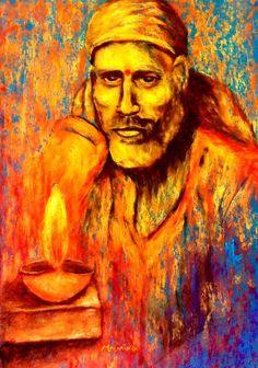 Original Contemporary Shirdi Sai Baba In Dwarakamayi Painting For Home Decor Pastel by Mounika Narreddy
