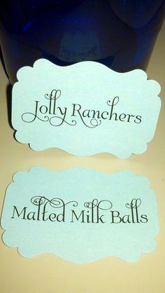 labels for candy & dessert buffet