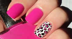 Hi, Today I'll show you a pink leopard manicure. I painted all my nails with Sinful Colors -Pink Creme, except the ring finger, on which I a. Fancy Nails, Love Nails, How To Do Nails, Pretty Nails, Sexy Nails, Prom Nails, Gorgeous Nails, Wedding Nails, Pink Cheetah Nails