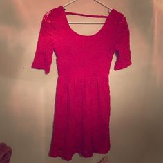 Forever 21 Red Lace Mini dress Forever 21 red lace mini dress with 3/4 sleeve. Perfect with a good red lipstick! Forever 21 Dresses Mini