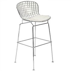 Bring upscale urban style into your decor scheme with the minimalist designed Cad Bar Stool. A strong steel frame with a high back for lower back support coupled with a chrome footrest make this a genuinely comfortable chair. A  padded white leatherette cushion will entice your guests to relax and enjoy themselves at the bar whether it's in the kitchen, workroom or the office.