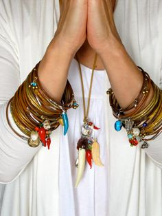 Hand made Leather bangles with Amuletos by GiulianaTorelli on Etsy, $65.00