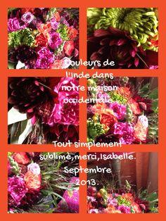 Des couleurs explosives...pour ce début septembre 2013.Isabelle Thissen.Artiste-Fleuriste.A la Folie.Bruxelles1150.