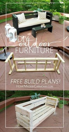 Learn how to build this styling outdoor furniture, including a full sized outdoor sofa, and a bench/coffee table. It is an easy build with free plans! #diypallet #pallet