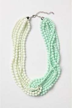 Anthropologie Mint green and white double torsade necklace