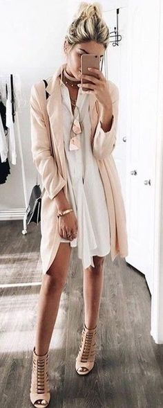 blush white and beige outfit