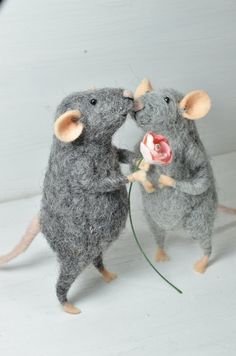 Little Rats in Love   needle felted ornament by feltingdreams