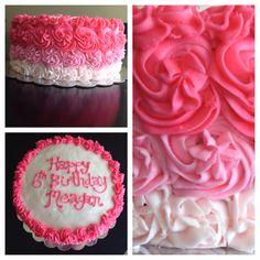 Pink Rose Ombré Birthday Cake.