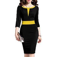 Wear To Work Dresses - WOOSEA Women's Sleeve Colorblock Slim Bodycon Business Pencil Dress at Women's Clothing store: Office Dresses For Women, Ladies Dresses, Mode Glamour, Nice Dresses, Dresses For Work, Trendy Dresses, Elegant Fashion Wear, Trendy Fashion, Girl Fashion