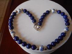 Collar Lapis Lazulu, Collarcon cuentas en porcelana, collar con aretes, collar para mujeres, collar para jovenes de PekitasCreations en Etsy