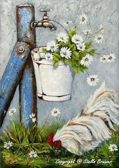 I hope you enjoyed that artist today. Tonight and Thursday, let's do STELLA BRUWER. Chicken Painting, Chicken Art, Art Floral, Tole Painting, Painting & Drawing, Pallet Painting, Pinterest Arte, Stella Art, Decoupage