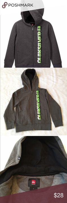 "Boys Quicksilver Hoodie This is a NWT Boys Quicksilver Hoodie. It's a charcoal grey with a bright green and white front graphic print. It has dual side slip pockets and a front zip closure. Materials are 60% cotton & 40% polyester. ⚜Please see my ""reasonable offers"" listing at the top of my page before submitting an offer⚜Thank you😊 Quicksilver Shirts & Tops Sweatshirts & Hoodies"