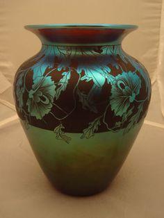 1982 6 Orient and Flume Vase-Translucent, Very Rare Glass Ceramic, Mosaic Glass, Glass Art, Glass Photography, Art Deco Decor, Bottle Vase, Handmade Beads, Hand Blown Glass, Art Nouveau