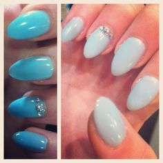 My nails circa Dec 2013. Almond shaped gel overlay nails -  Robins Egg blue with rhinestones on the top of my ring finger, close to the cuticle.