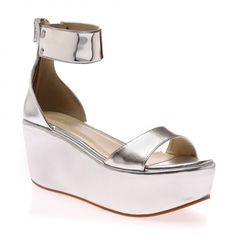 Stephanie Silver Flatform Sandal
