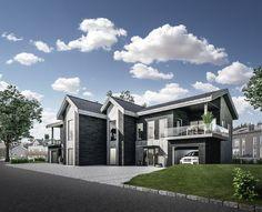 Ramstadåsen: Arkitekttegnet tomannsbolig med unikt design og spektakulær utsikt. 4 soverom og 2 bad. Integrert garasje.  Eneboligfølelse. Må sees!   FINN.no