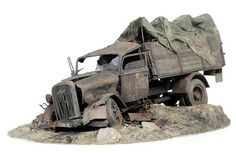 Burned Opel Blitz. By Piotr Gladky. ITALERI 1/35 scale German Opel Blitz truck. #vignette #diorama #WW2 http://modelismoymodelistas.blogspot.jp/2012/07/burned-opel-blitz-esc-135-by-piotr.html