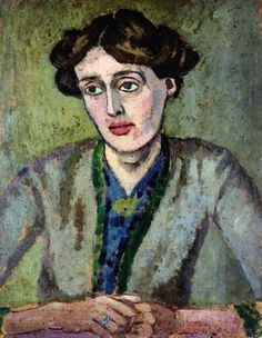 """A painting of Virginia Wolf by Roger Fry.  Fry had been a very close friend since his appearance in their circle in 1910.  After he died in 1934, Virginia agreed to write """"Roger Fry, a Biography"""" which was published in 1940."""