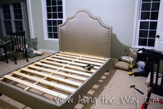 DIY Upholstered Platform Bed with Curved Fabric Headboard | * View Along the Way *