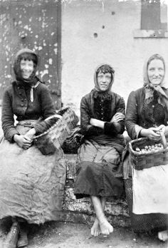 Cockle gatherers in Galway, Ireland in the late 1800's. Cockles were gathered for food or for bait.