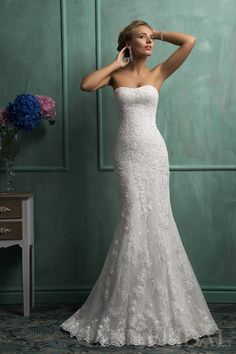 Trumpet Lace Up Corset Elegant Lace Wedding Dress