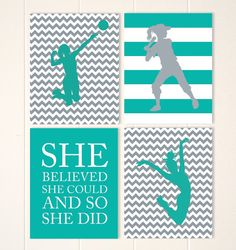 Volleyball, softball wall art, dance art, girls sports art, playroom art, girls poster, girls room decor, set of 4 prints by PicabooArtStudio, $34.00