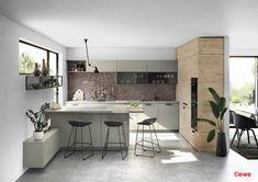 Küchen-Planung und Gesamtkonzepte Küchen Design, Double Vanity, Table, Furniture, Meal, Home Decor, Dark Kitchens, Modern Kitchen Inspiration, Black Sink