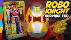 ROBO KNIGHT Giant Surprise Egg w Imaginext Power Rangers Toys Megazord a...