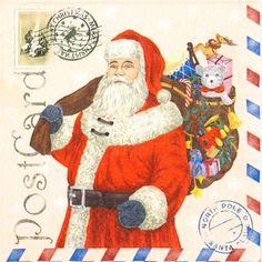 4 Single Table Party Paper Napkins for Decoupage Decopatch Craft Santa Postcard