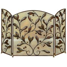 Fireplace screen with metal vine detail.Product: Fireplace screen Construction Material: Metal Color: Bronze Features: Scroll leaf metal decoration on frontHeat resistant mesh backing Dimensions: H x W x D Metal Fireplace, Fireplace Screens, Fireplace Surrounds, Fireplace Ideas, Fireplace Drawing, Fireplace Cover, Shiplap Fireplace, Victorian Fireplace, Concrete Fireplace