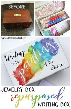Jewelry Box Repurposed into Writing Box - SUPER FUN MAKEOVER - artsychicksrule.com #writingbox #silhouette #jewelryboxrepurposed
