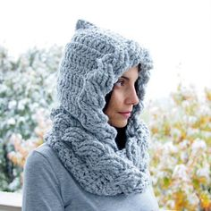 Cable Hood Loop Scarf | Today's Feature on CrochetSquare.com