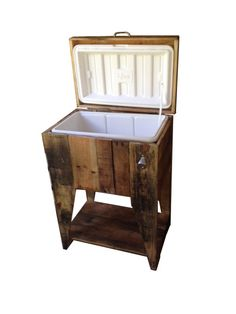 Wooden Standing Cooler 20 QT Custom Made With Pallets and Reclaimed Wood. on Etsy, $160.00