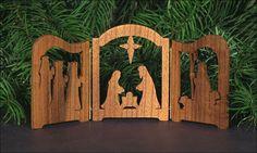 Nativity Scene Mini Triptych Oregon Myrtlewood by OregonHandCrafts, $23.00