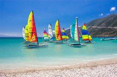 Sailboats at Vassiliki beach Exotic Beaches, Sailboats, Greek Islands, More Photos, Greece, Zero, Coast, Happiness, Outdoor Decor