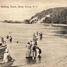 Beach in Stony Brook, circa 1935. #wbw #stonybrook #beach #westmeadowbeach #longisland #postcards