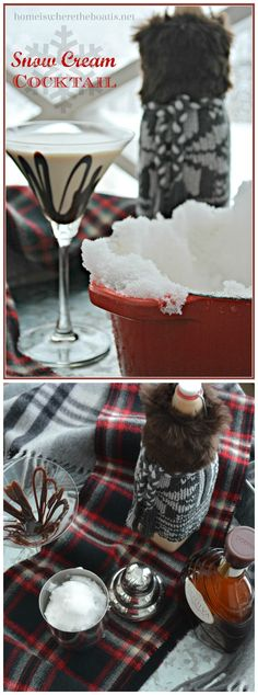 Snowed in? Shake up a Winter Survival Snow Cream Cocktail! #cocktail #winter