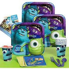 Monsters University themed plates & cups or plain blue/green/purple/white. Don't want too much print...