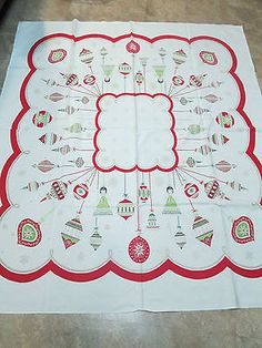 Vintage-Christmas-Cotton-Print-Tablecloth-w-Shiny-Bright-Ornaments-44x52-AS-IS
