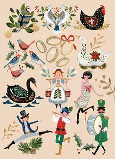 12 Days Of Christmas, Christmas Art, Winter Christmas, Vintage Christmas, Xmas, Father Christmas, Illustration Noel, Christmas Illustration, Cat Illustrations